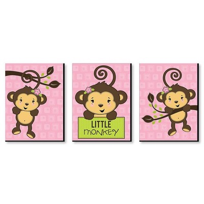 Big Dot of Happiness Pink Monkey Girl - Baby Girl Nursery Wall Art and Kids Room Decorations - Gift Ideas - 7.5 x 10 inches - Set of 3 Prints