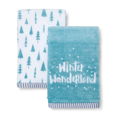 2pk Winter Wonderland Bath Towel Sets Pewter Aqua - Wondershop™