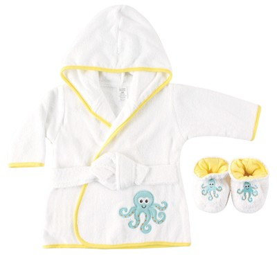 Luvable Friends Baby Unisex Cotton Terry Bathrobe, Octopus, One Size