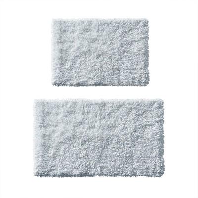 2pc Clout Organic Cotton Bath Rug Set Blue
