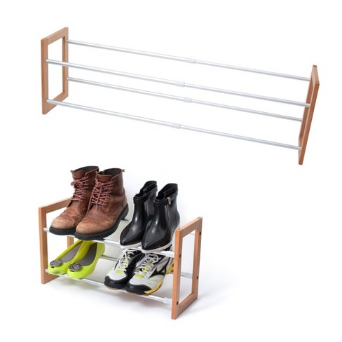 INNOKA 2-Tier Expandable Shoe Rack [Up to 12-Pair Shoe Rack][Space-saving] Adjustable Wooden and Aluminum Shoes Rack - Easy to Assemble Home Essential - image 1 of 3