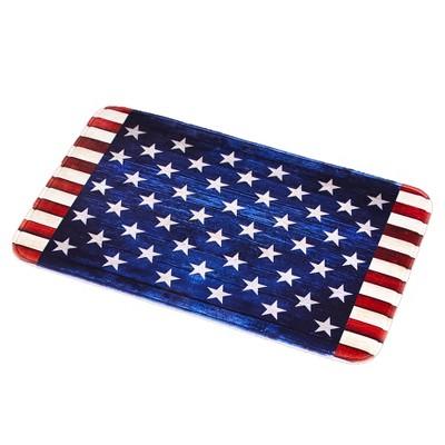 Lakeside American Flag Memory Foam Bathroom and Shower Rug - Patriotic Restroom Accent