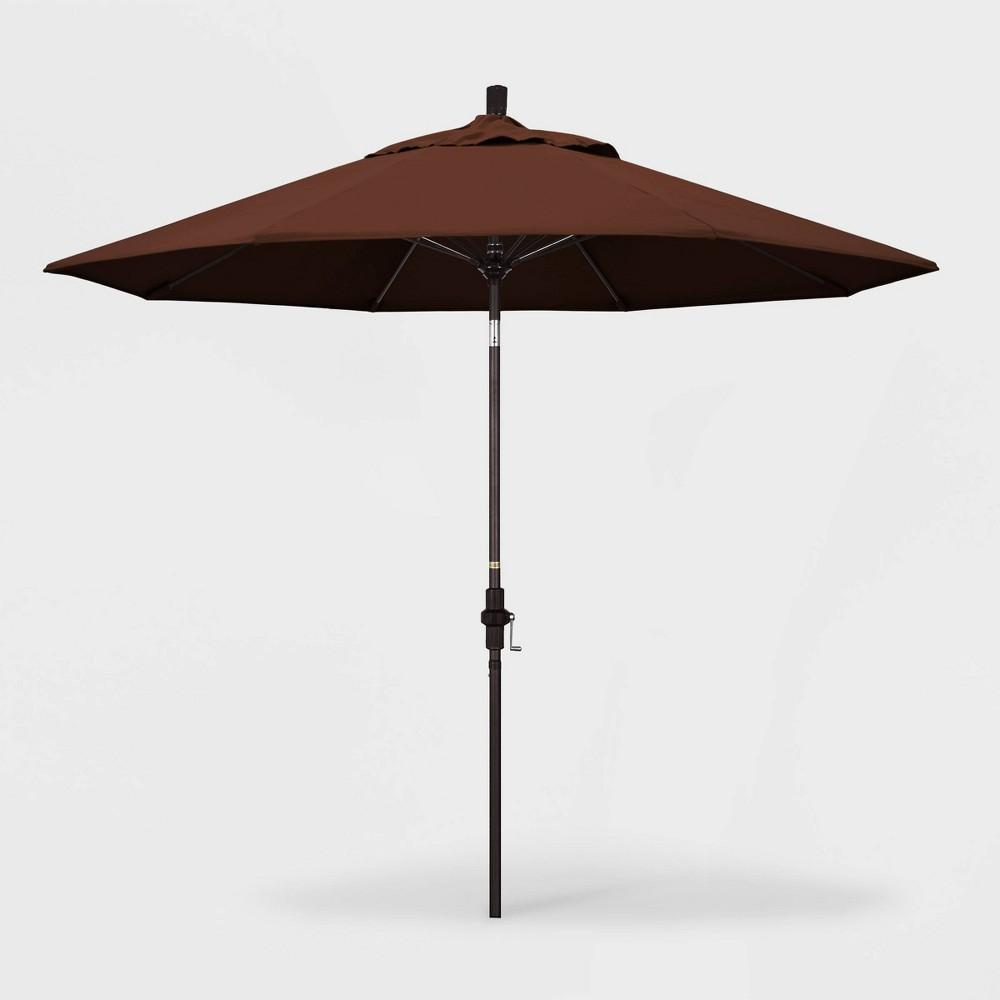 9' Sun Master Patio Umbrella Collar Tilt Crank Lift - Sunbrella Bay Brown - California Umbrella