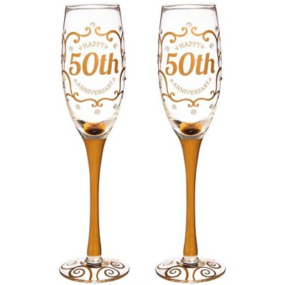 Evergreen 50th Anniversary Champagne Flutes, 8 ounces, Set of 2