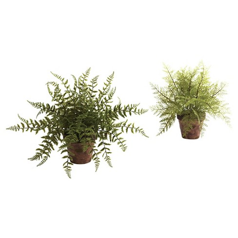 Nearly Natural Fern with Decorative Planter Green (set of 2) - image 1 of 3