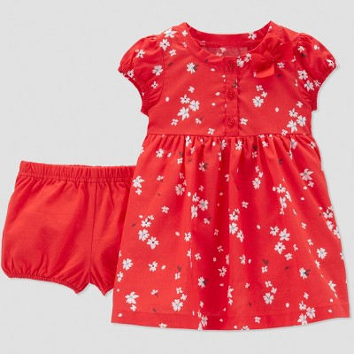 Baby Girls' Poppy Floral Dress Set - Just One You® made by carter's Red 3M