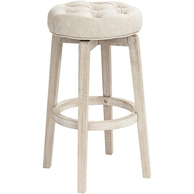 "55 Downing Street Shelby 29"" White Wash Backless Swivel Bar Stool"
