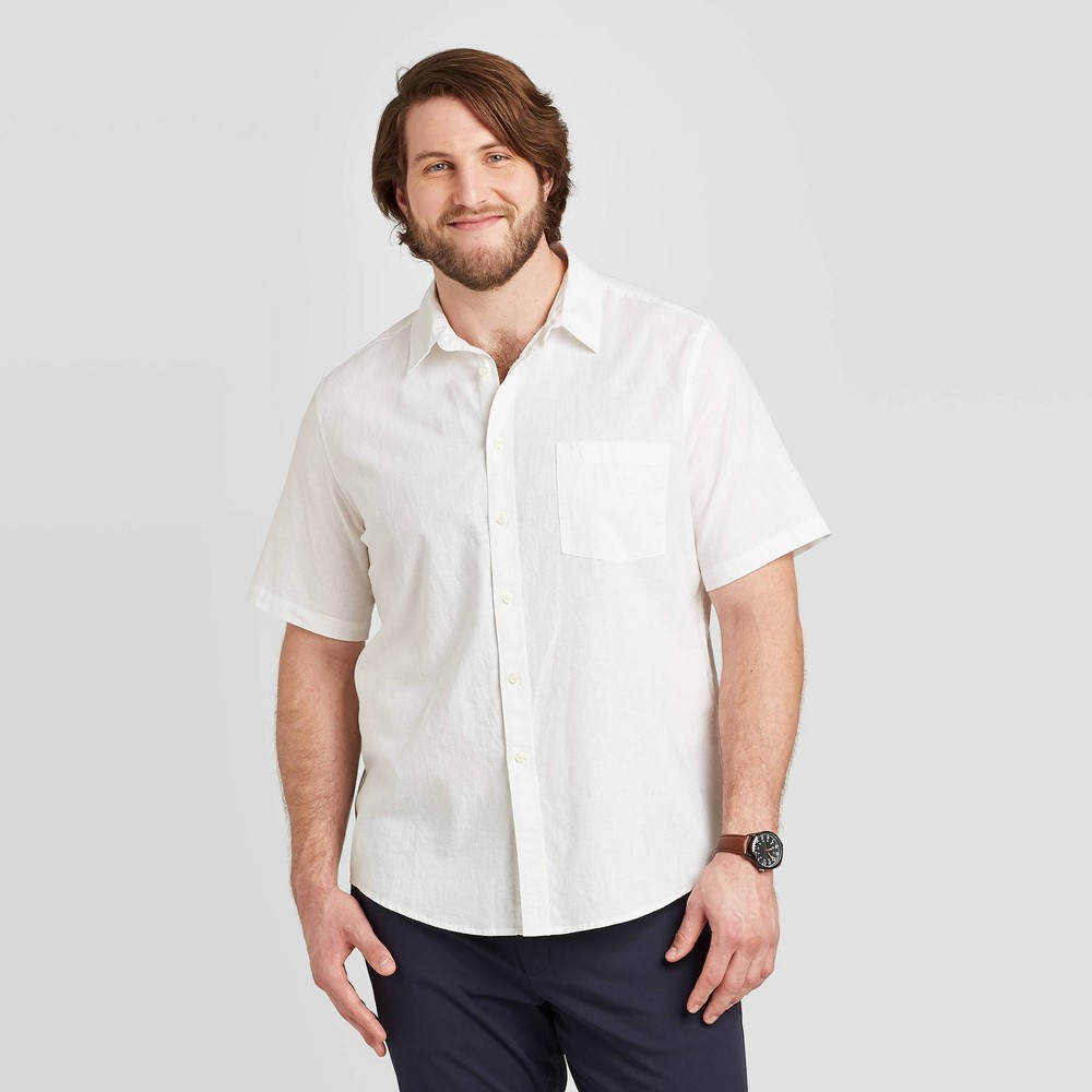 Men's Big & Tall Standard Fit Short Sleeve Linen Shirt - Goodfellow & Co True White 5XB, Men's was $19.99 now $12.0 (40.0% off)