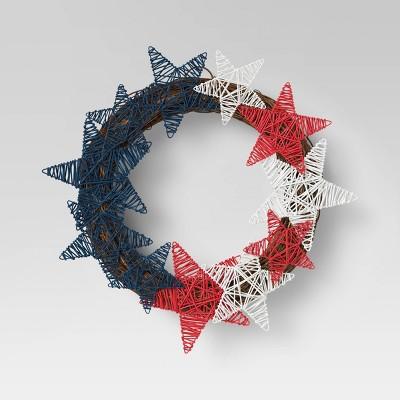 "17"" Americana Flag Star Woven Wreath Blue/Red - Sun Squad™"
