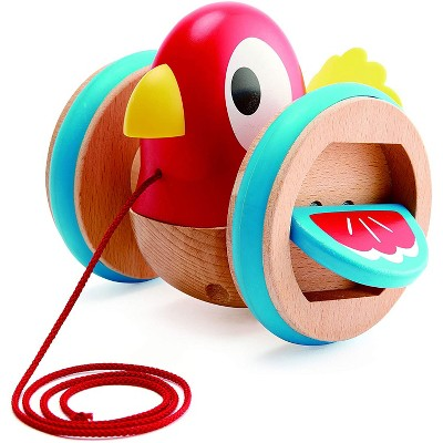 Hape Wooden Wobbling and Flapping Baby Bird Pull-Along Toddler Toy