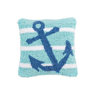 """C&F Home 8"""" x 8"""" Anchor Stripe Petite Hooked Throw Pillow"""