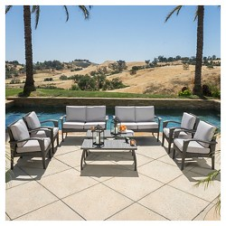 Waikiki 8pc Wicker Patio Seating Set & Cushions - Gray - Christopher Knight Home
