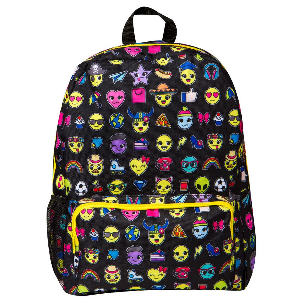 """Style Lab by Fashion Angels 16.5 Emoji Backpack - Black Who said a backpack has to be boring? Introducing Style.Lab's newest Emoji backpack that will make you """"lol""""! Bag features a mesh water bottle holder, padded shoulder straps, inside laptop sleeve and front zippered pocket. Color: Black. Gender: Unisex. Pattern: Solid."""