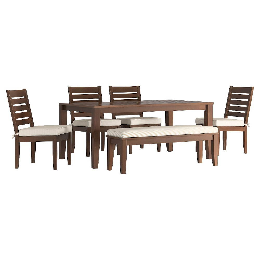 Parkview 6pc Rectangle Wood Patio Dining Set w/ Cushions - Brown/Beige - Inspire Q