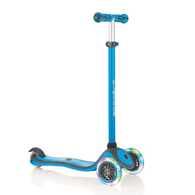 Globber V2 3-Wheel Kids Kick Scooter with LED Light Up Wheels and Adjustable Height and Comfortable Grips for Boys and Girls, Sky Blue