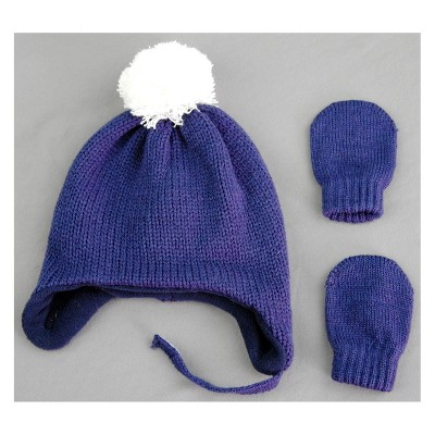 Baby Boys' Hat and Mitten Set - Cat & Jack™ Navy 0-6M