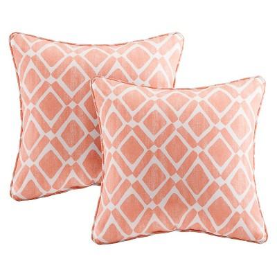 Orange Natalie Printed Square Throw Pillow 2pk 20 x20 -