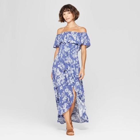 900c3af5c6d1 Women's Floral Print Off the Shoulder High-Low Hem Maxi Dress - Xhilaration™