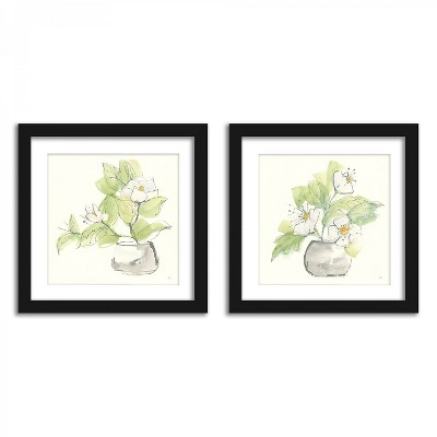 Americanflat White Magnolias - Set of 2 Framed Prints by Wild Apple