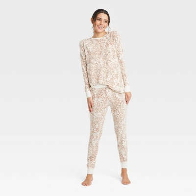 Women's Leopard Print Cozy Long Sleeve Top and Leggings Pajama Set - Stars Above™ Cream