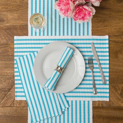 C&F Home Ticking Stripe Turquoise Cotton Woven Placemat Set of 6