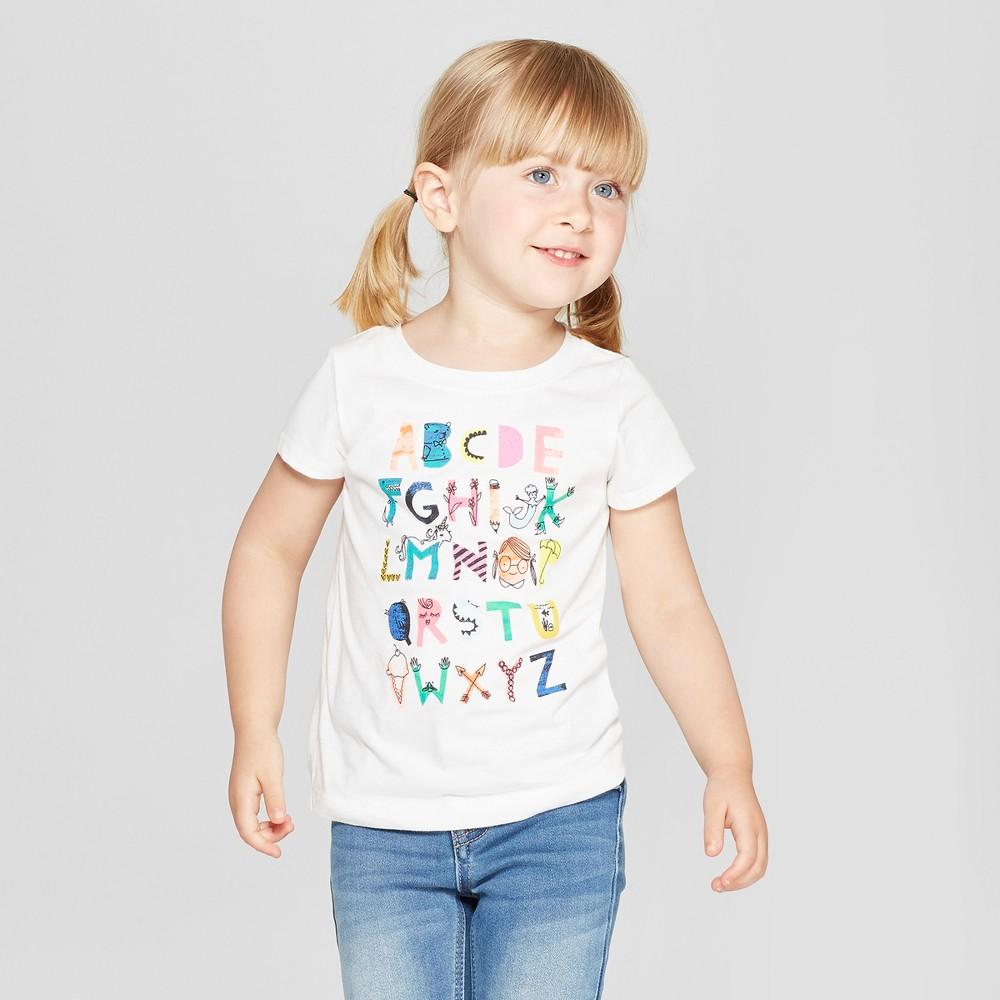 Toddler Girls' Alphabet Short Sleeve T-Shirt - Cat & Jack White 3T