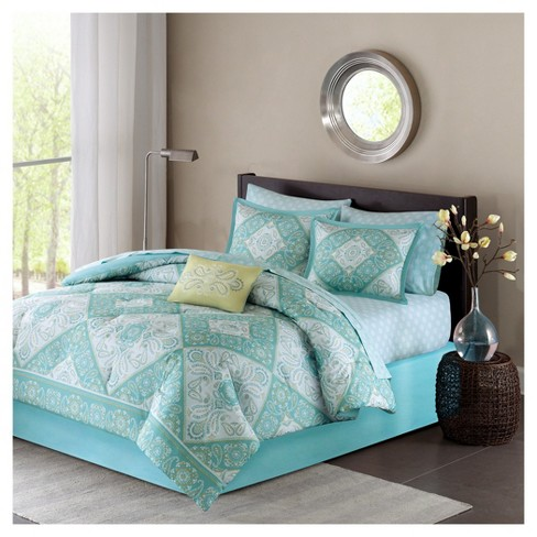 Megan Tile Print Complete Multiple Piece Comforter Set - Blue - image 1 of 7