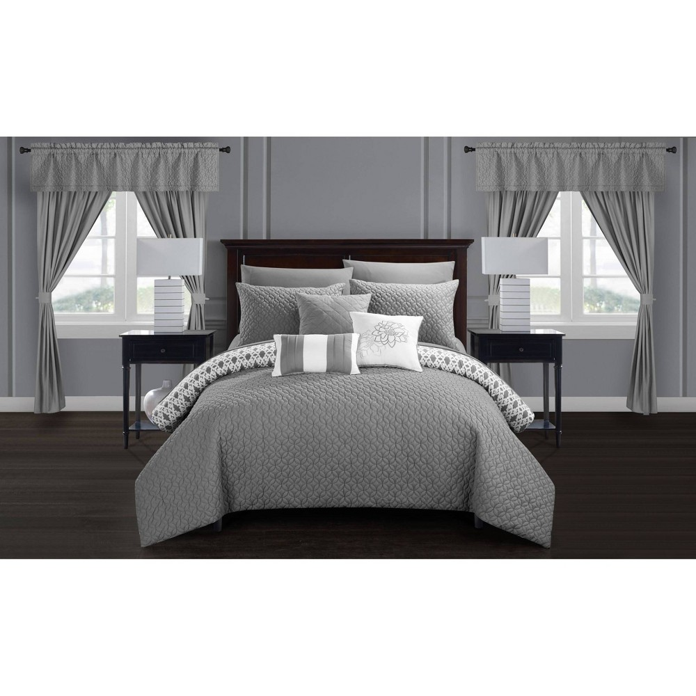 Queen 20pc Liron Bed In A Bag Comforter Set Gray Chic Home Design