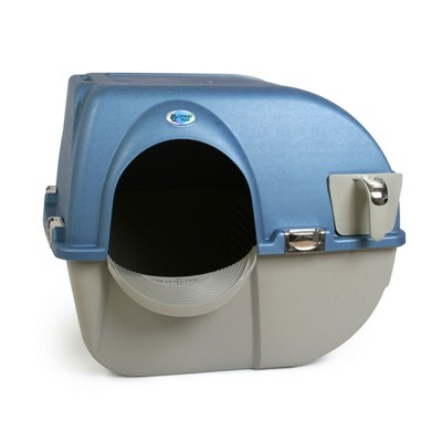 Omega Paw PR-RA15-1 Roll N Clean Self Separating Self Cleaning Litter Box, Blue