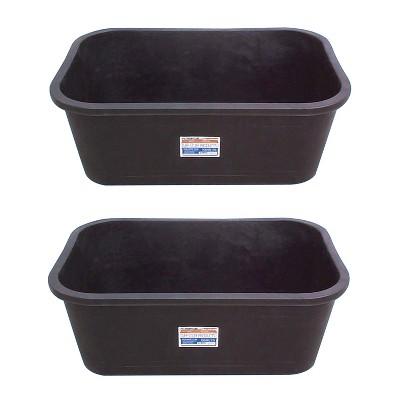 Tuff Stuff Heavy Duty 75 Gallon Rectangular Water Storage Tank Tub (2 Pack), Black