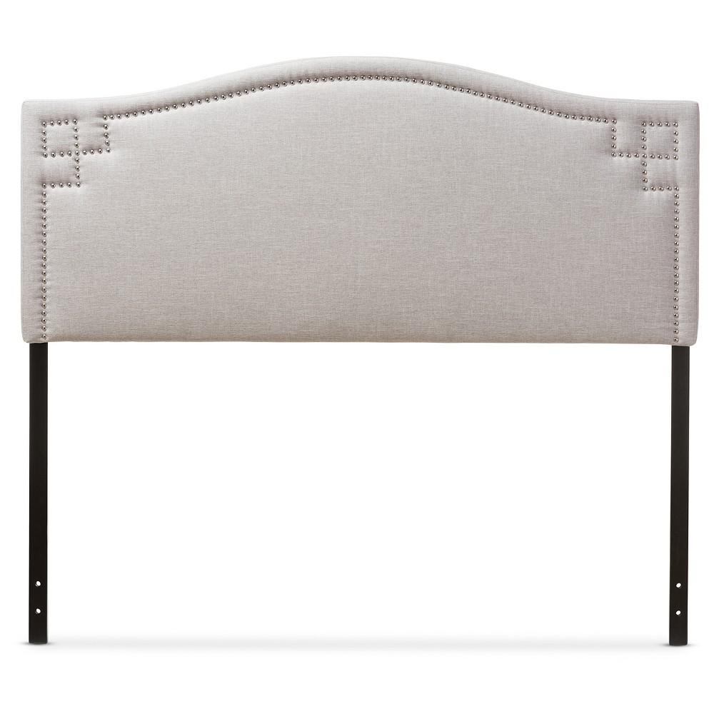 Aubrey Modern And Contemporary Fabric Upholstered Headboard Full Grayish Beige Baxton Studio