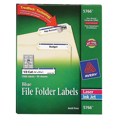Avery LaserInkjet SelfAdhesive File Folder Labels 1500 Per Box