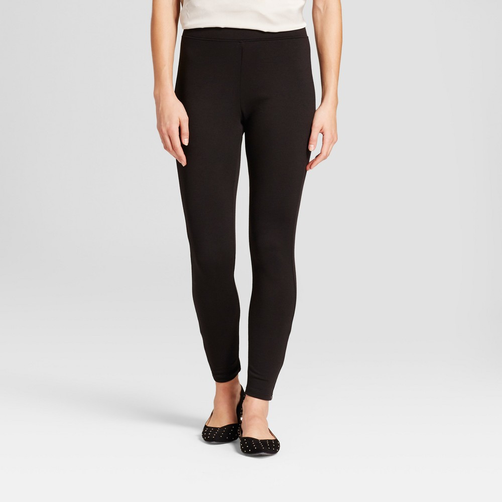Women's Solid Ponte Jeggings - A New Day Black XL