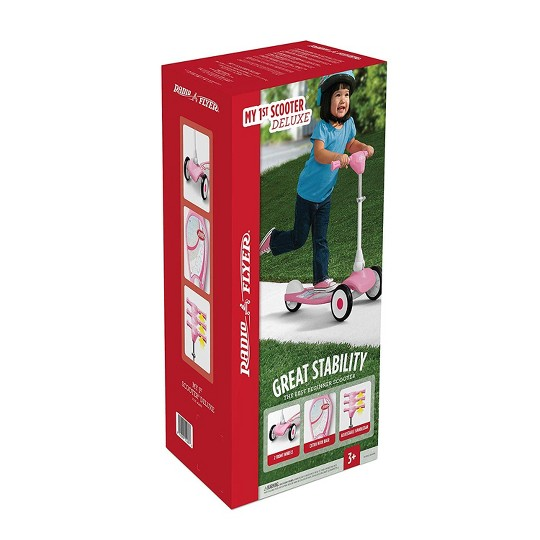 Radio Flyer 543PA My 1st Beginner Kids Kick Outdoor Scooter Sparkle, Deluxe Pink image number null