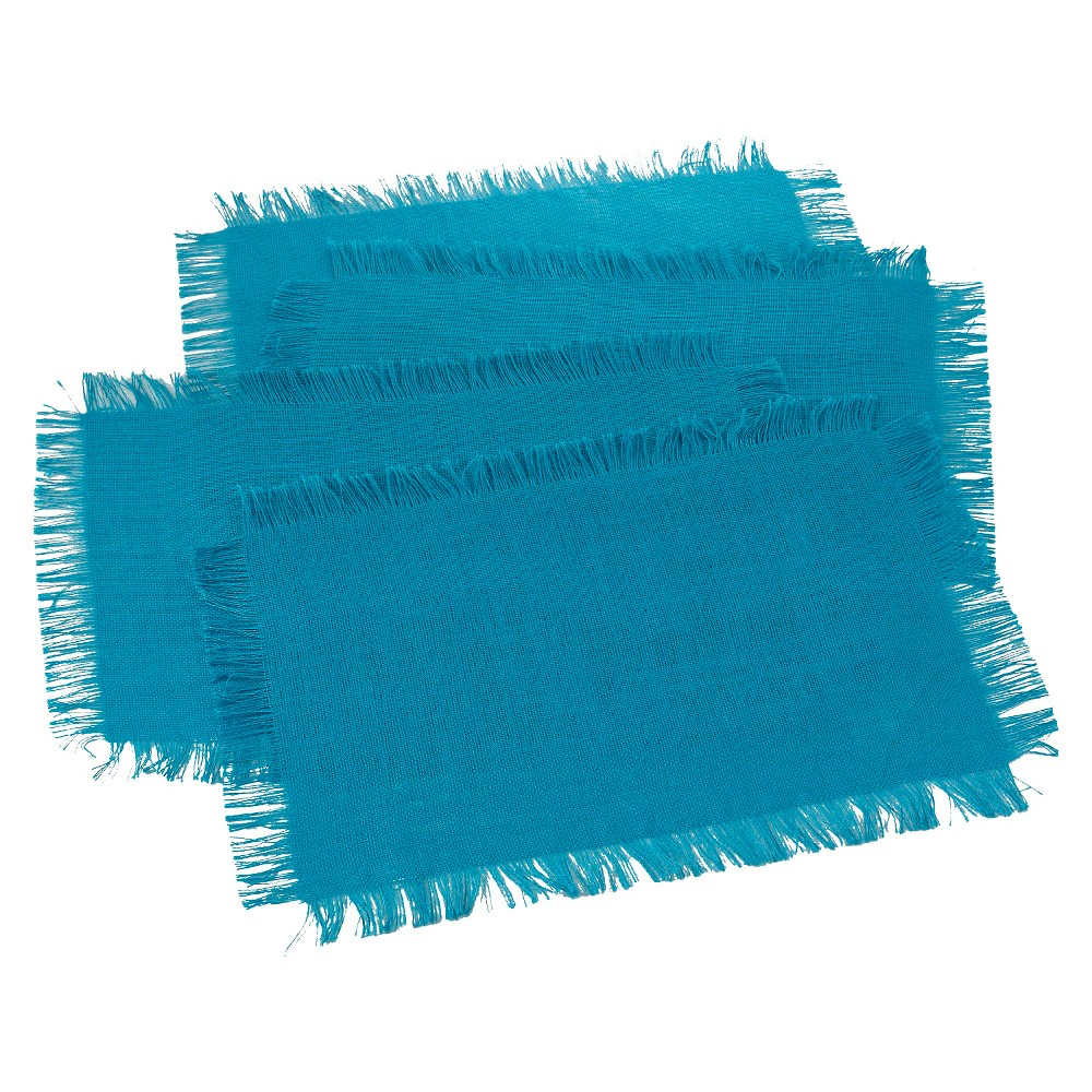 Fringed Jute Placemats Turquoise (Set of 4)