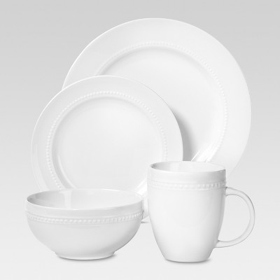 Porcelain 16pc Dinnerware Set White Beaded Rim - Threshold™