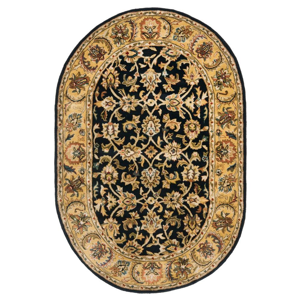 Black/Gold Floral Tufted Oval Area Rug 7'6