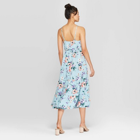 3e476d85d9 Women s Floral Print Scoop Neck Strappy Button Front Tiered Midi Dress -  Xhilaration™ Dusty Blue   Target