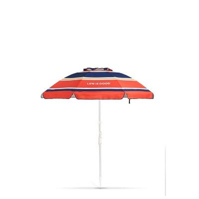 Outdoor Beach Umbrella with Silver Frame & Orange Daisy - Life is Good