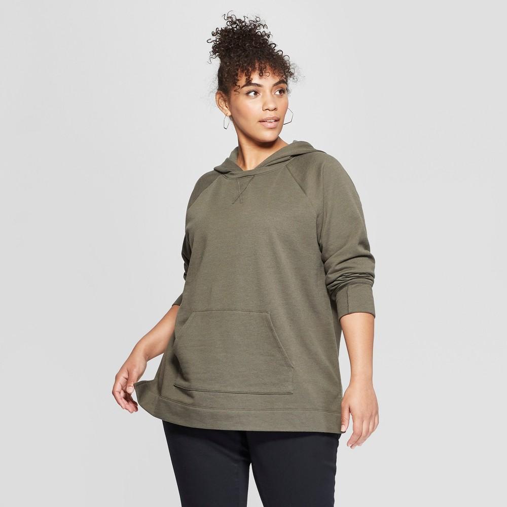 Women's Plus Size Hoodie Sweatshirt - Ava & Viv Olive 3X, Green