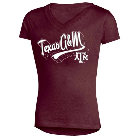 NCAA Girl's Short Sleeve V-Neck Puff Glitter T-Shirt Texas A&M Aggies  - image 1 of 1