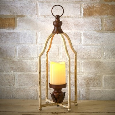 Lakeside Vintage Metal Farmhouse Lantern with LED Pillar Candle