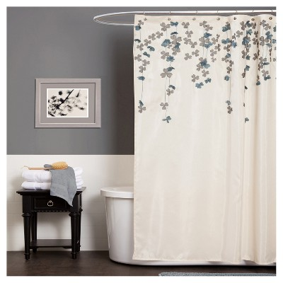 Flower Drops Shower Curtain Ivory/Blue - Lush Decor