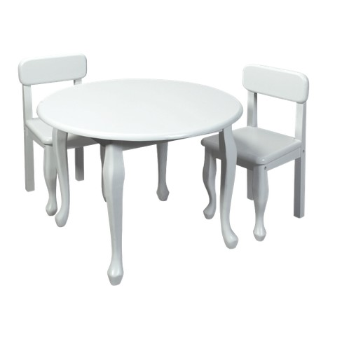 Queen Anne Round Table and 2 Chairs - White - image 1 of 1