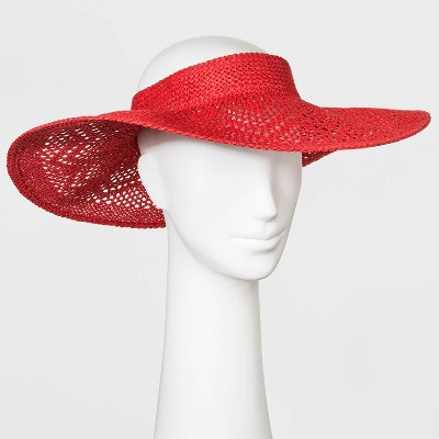 Women's Crochet Visor Hat - A New Day™ Red