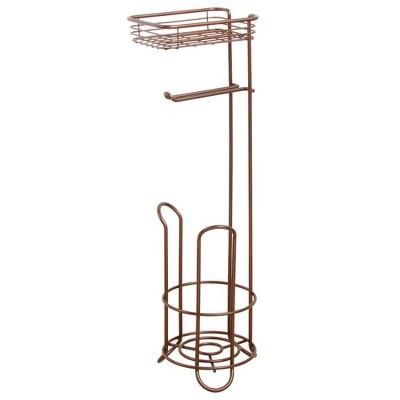 mDesign Standing Toilet Paper Dispenser/Holder with Shelf - Venetian Bronze