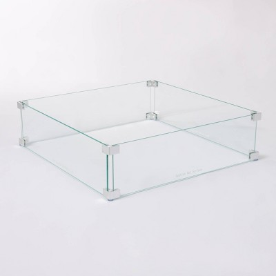 Tempered Glass Wind Guard for Square LPG Fire Pit - Fire Sense