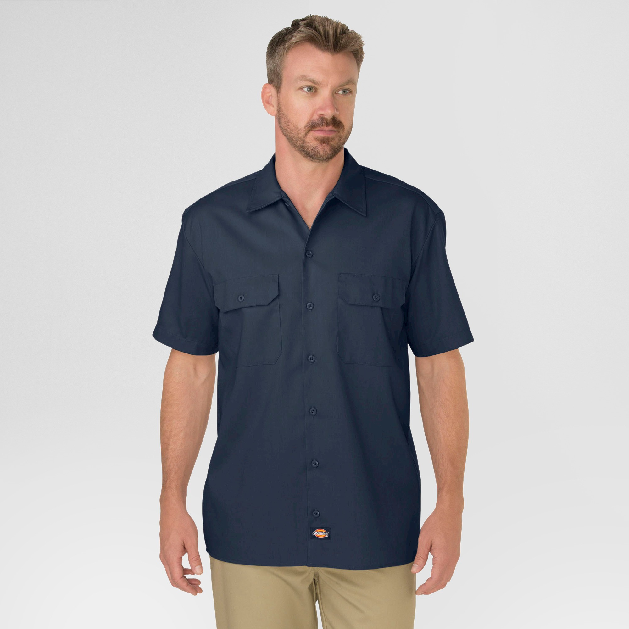 petiteDickies Men's Tall Original Fit Short Sleeve Twill Work Shirt - Dark Navy XLT, Men's, Dark Blue