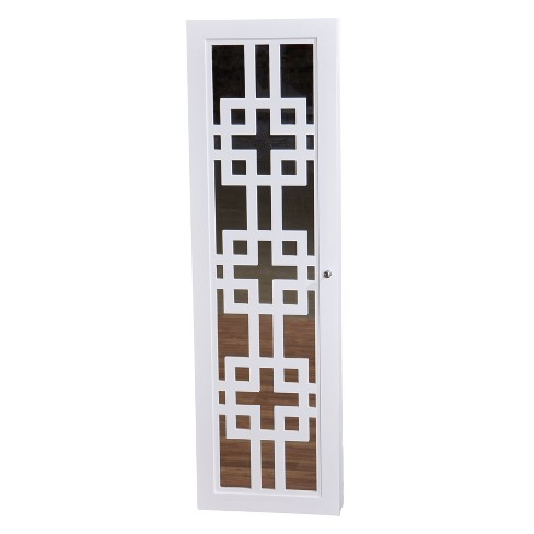 Modern Jewelry Armoire with Decorative Mirror White - FirsTime - image 1 of 4