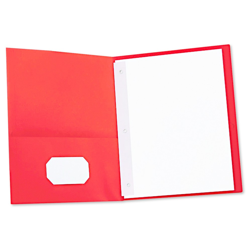 Universal Two-Pocket Portfolios with Tang Fasteners, 11 x 8-1/2, Red, 25/Box